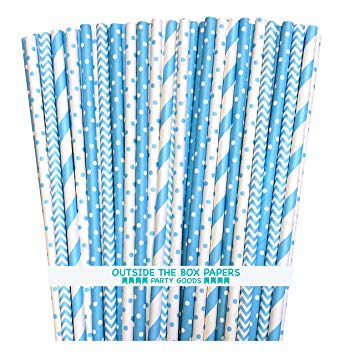 Outside the Box Papers Light Blue Stripe, Polka Dot Chevron Paper Straws 7.75 Inches 100 Pack Light Blue, White