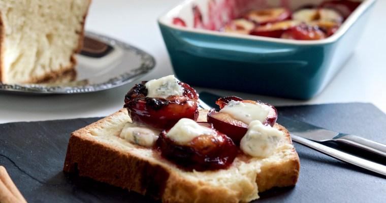Brioche with Wild Yeast, Honey Roasted Plums and Gorgonzola Cheese/ Брьош с квас, печени сливи с мед и синьо сирене Горгонзола