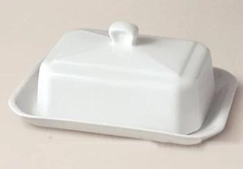 Beurrier en porcelaine blanche
