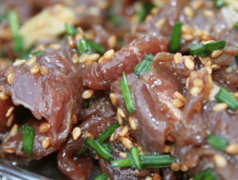 Bœuf en marinade de vinaigre de riz et sésame