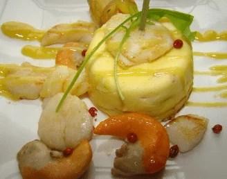 Dariole de saint-Jacques, beurre blanc safrané