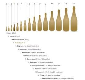 Les différentes tailles de bouteilles de champagne