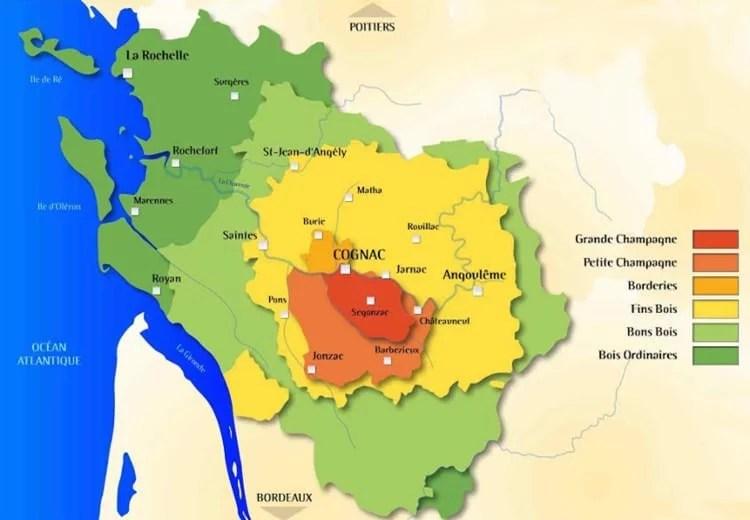 Carte des crus de la région délimitée du cognac