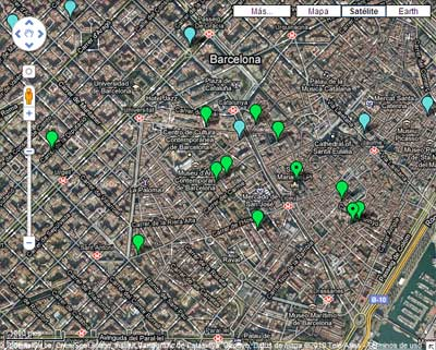 Mapa de restaurantes vegetarianos en Barcelona