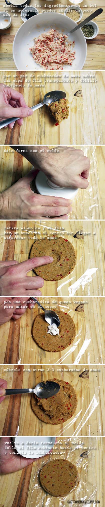 Tutorial para hacer hamburguesas veganas rellenas