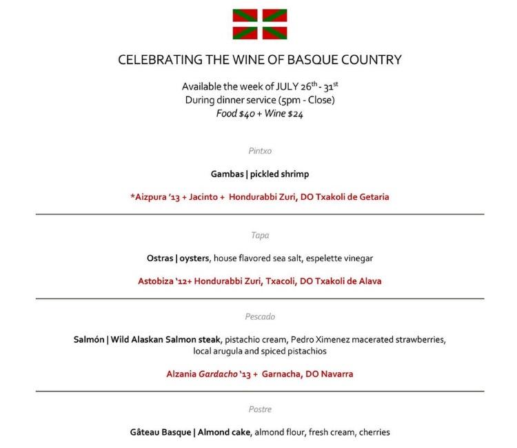 finca basque menu 2015