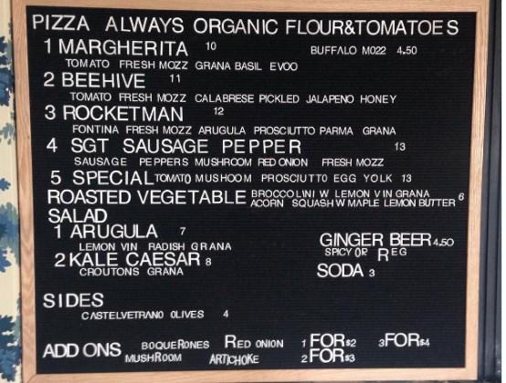 Pizza Nono - pared down menu