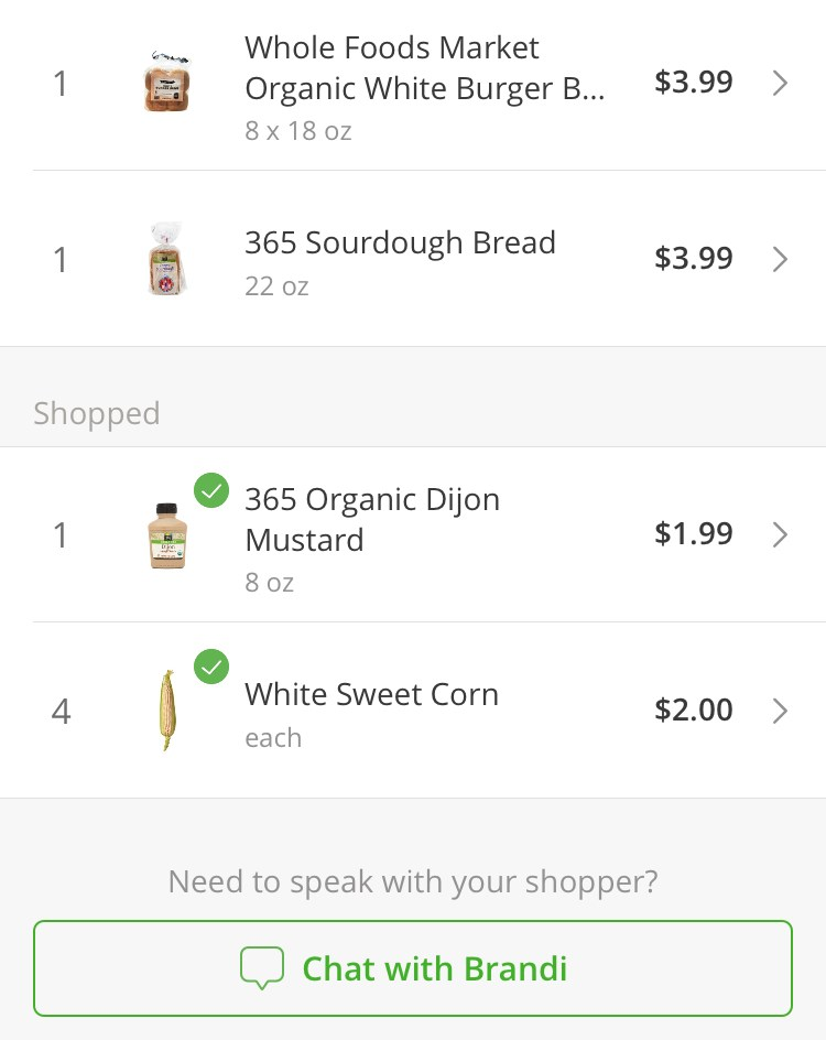 Instacart - items being added to cart