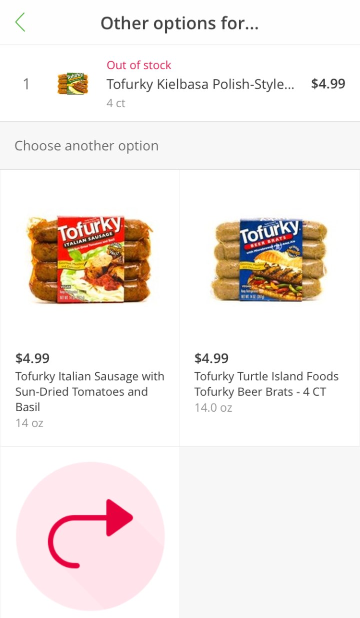 Instacart - items not available
