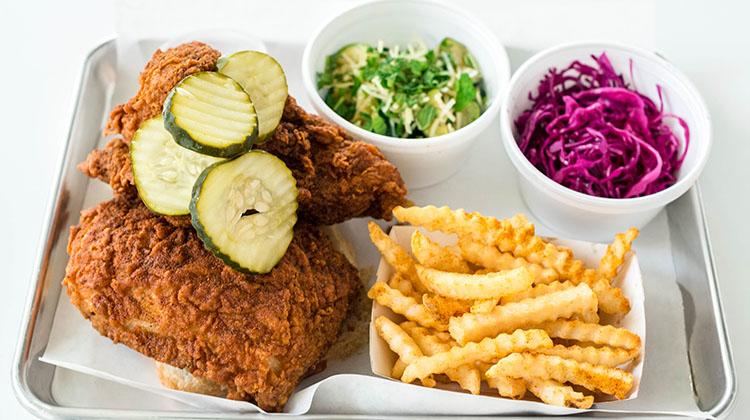 Pretty Bird fried chicken plate, credit Pretty Bird and Billy Yang