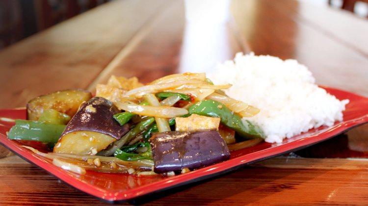 Veggie House - eggplant with tofu. Credit, Veggie House