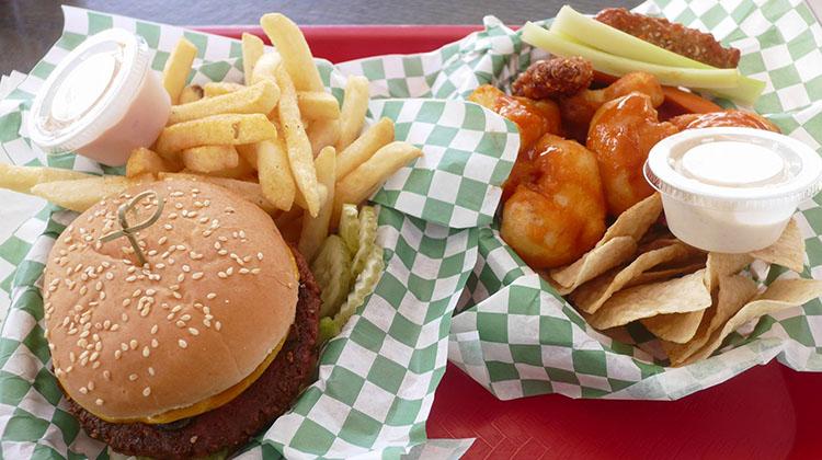 Lil Lotus - cowspiracy burger, Buffalo florets and tenders. Credit Pure Food