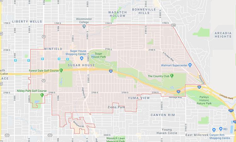 Sugar House area limits via Google Maps