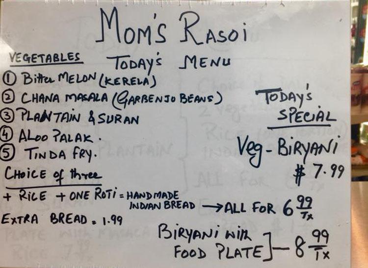 Mom's Rasoi - example menu (Mom's Rasoi)
