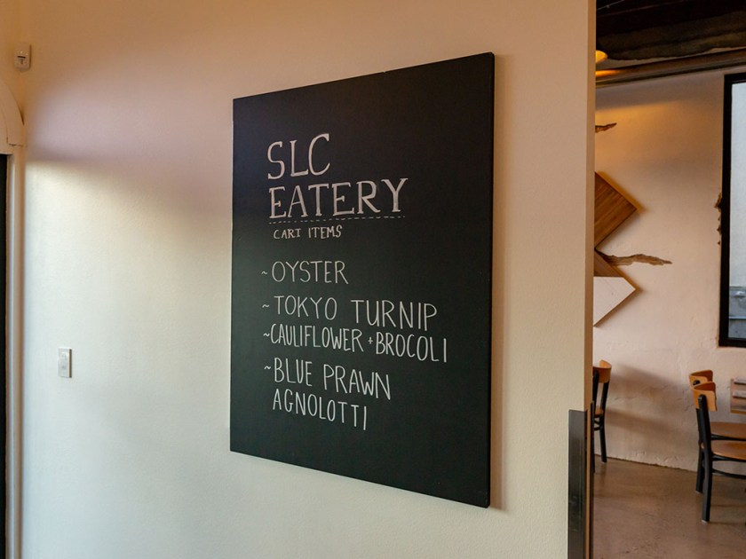 SLC Eatery - todays cart specials outlined as you walk in