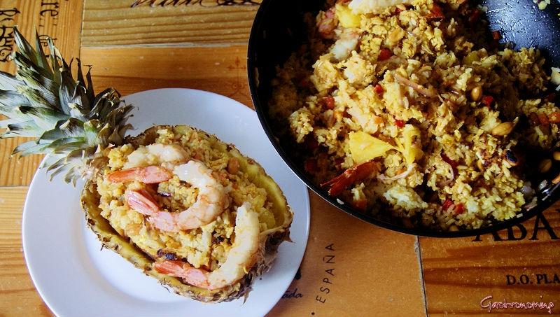 arroz frito de langostinos y piña