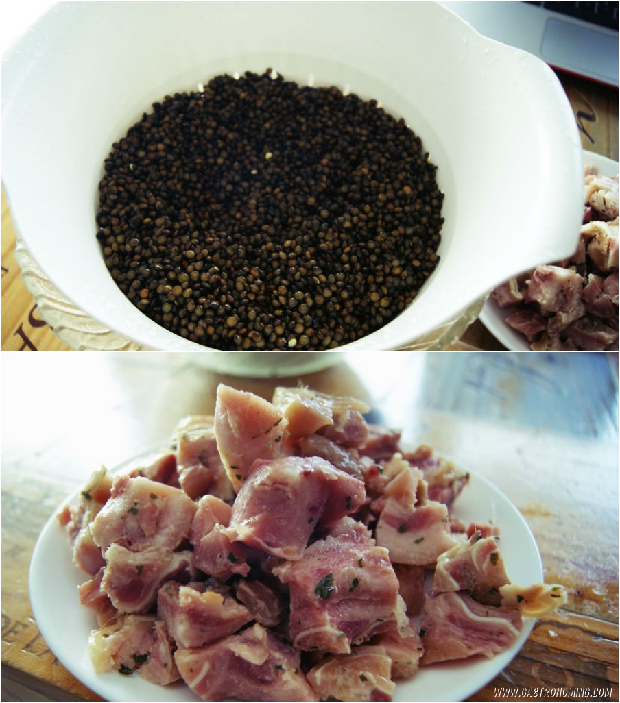 lentejas caviar con oreja de cerdo