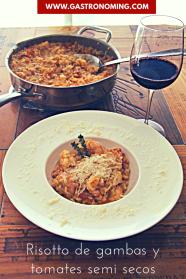 risotto de gambas y tomates semi secos