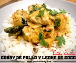 Curry de pollo y leche de coco