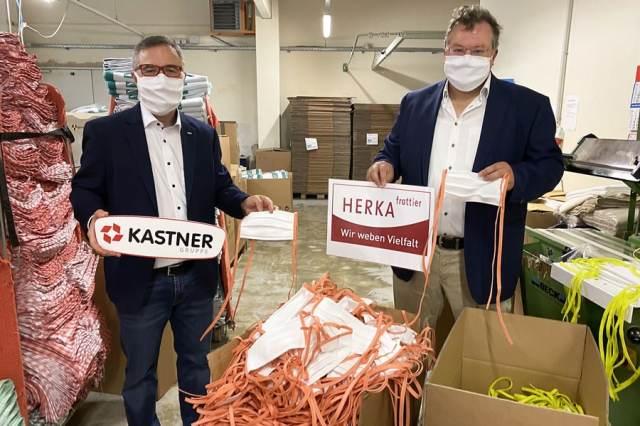 Kastner Schutzmasken KR Christof Kastner (Geschäftsführender Gesellschafter Kastner) und Mag. Thomas Pfeiffer (Geschäftsführer Herka)