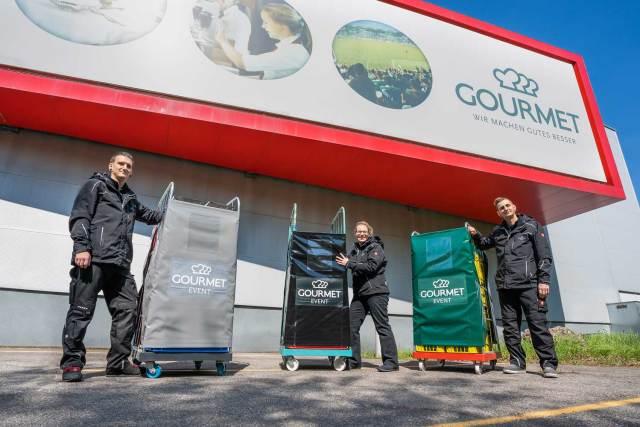 Gourmet Mehrweg Die neuen Mehrwegplanen von Gourmet Event sollen den Müll reduzieren und das Transportieren der Gitterwägen erleichtern.