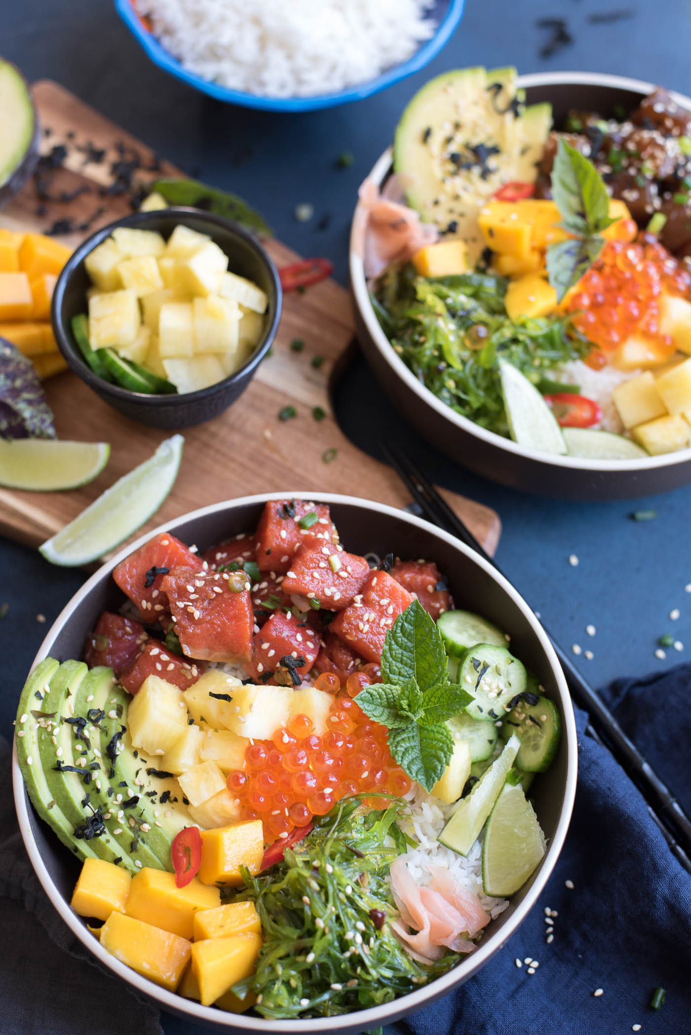 Tuna and Salmon Poke Bowls