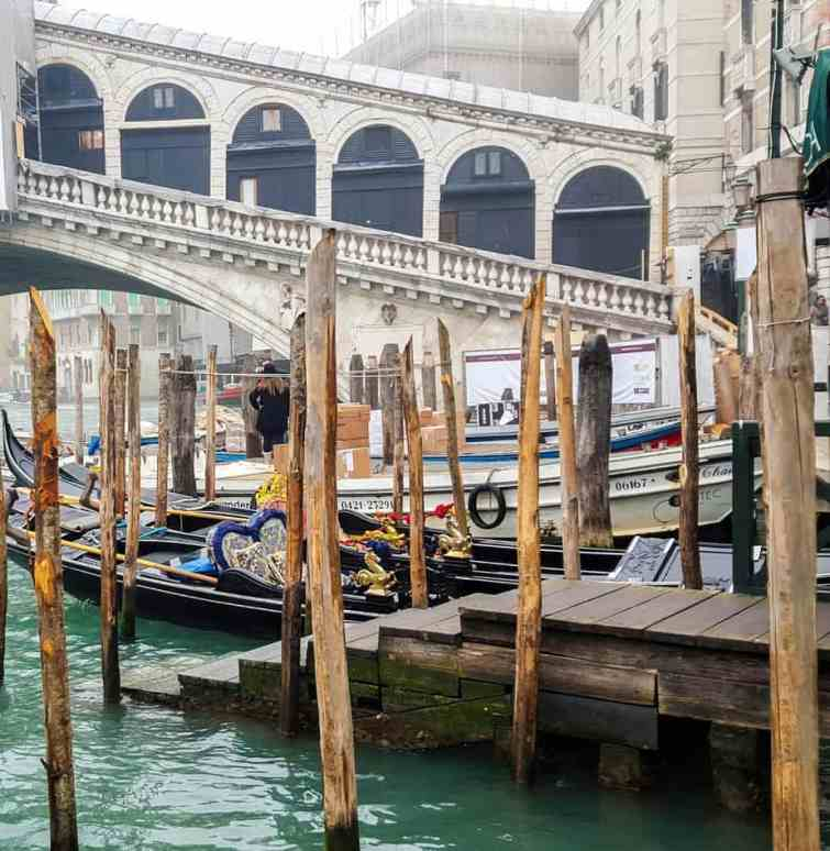 Rialto Bridge Venice with gondolas