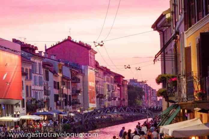 Navigli canal Milan at sunset