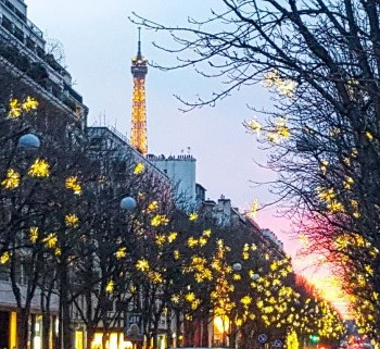 Christmas in Paris at sunset
