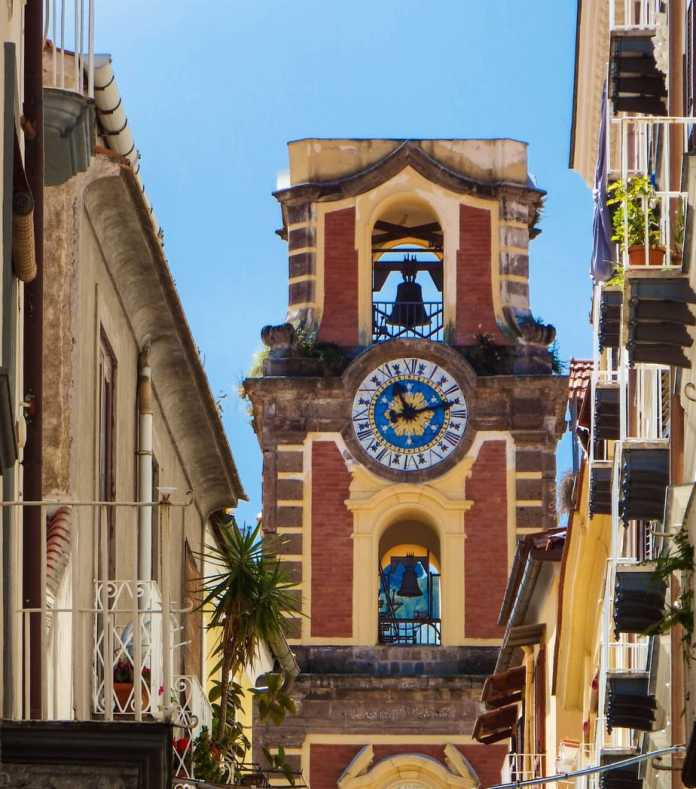 Bell tower in the old town Sorrento