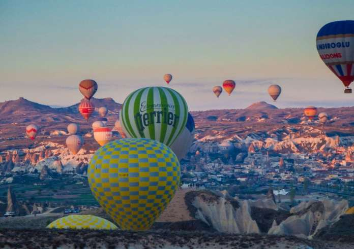 Balloons in flight Cappadocia