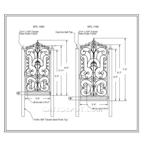 DuraGate WTL-1100 Scroll Top Garden Gate