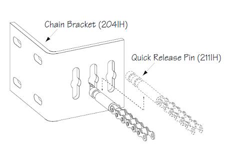 GTO SL1000B SL2000B Parts R4630 Chain Bracket Kit DC Sliders