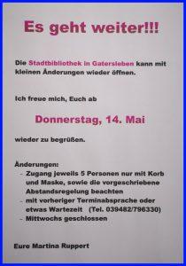 Gatersleben Stadtbibliothek öffnet wieder zum 14.05.2020