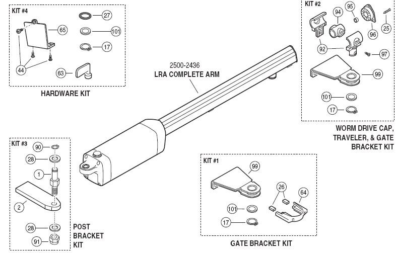OSCO Repair Parts-OSCO LRA Swing Residential Gate Openers