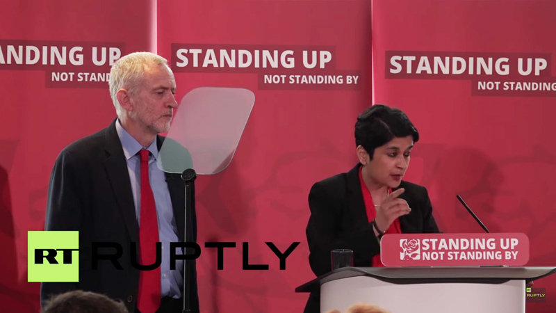 Labour leader Jeremy Corbyn and chairman of the whitewash inquiry into antisemitism and racism, Shami Chakrabarti