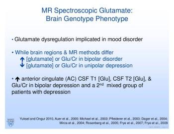 Glutamate in Bipolar vs Unipolar Depression