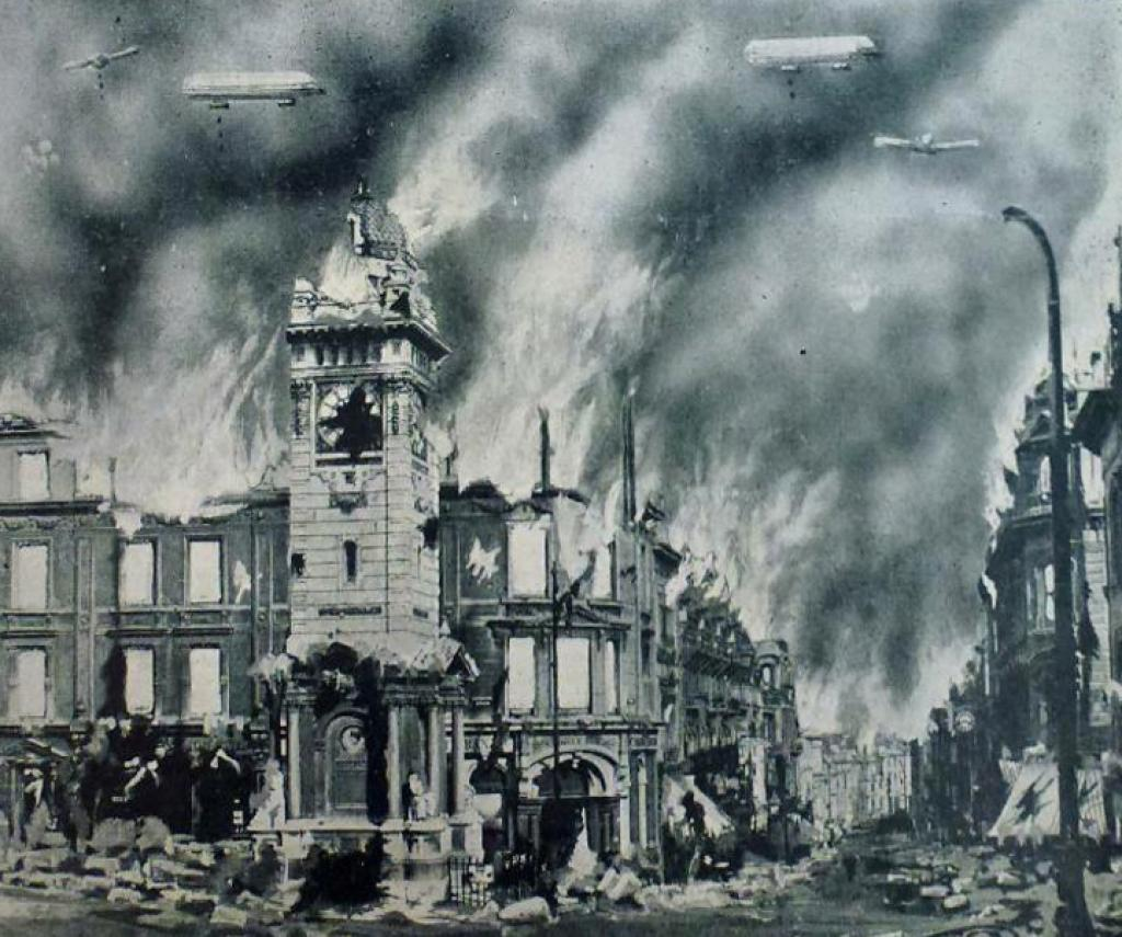 'Brighton Clock Tower destroyed by Zeppelin', Pavilion Collection, The Keep
