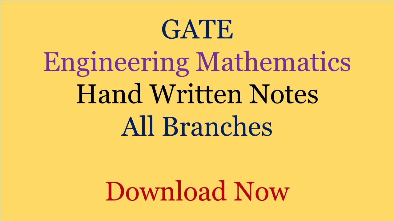 GATE Engineering Mathematics Hand Written Notes