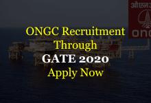 ONGC Recruitment Through GATE 2020