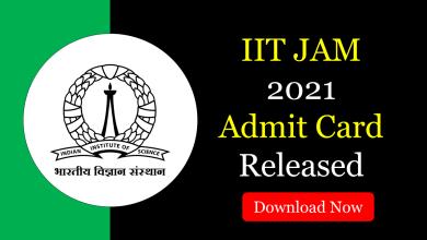 IIT JAM 2021 Admit Card