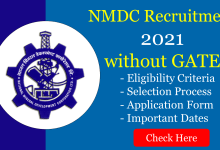 NMDC Recruitment 2021 without GATE