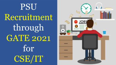 PSU recruitment through GATE 2021 for CSE