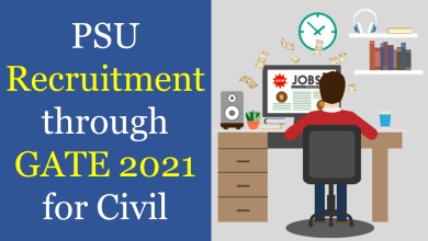 psu recruitment through gate 2021 for civil