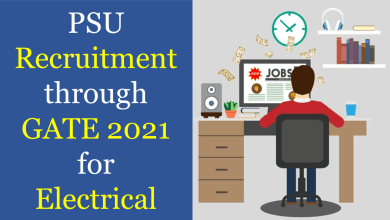 PSU Recruitment through GATE 2021 for EE