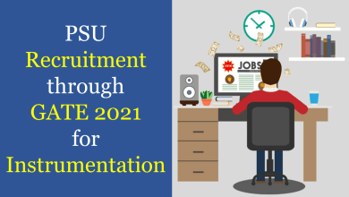PSU Recruitment through GATE 2021 for Instrumentation
