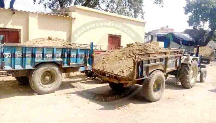 उघैती पुलिस ने जब्त किये 11 ट्रैक्टर-ट्रॉली, खनन माफियाओं में हड़कंप