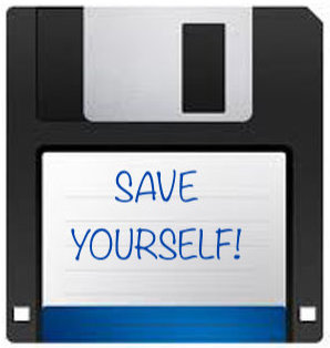 "image of a three and a half inch plastic floppy disk with ""Save Yourself"" written on the front"