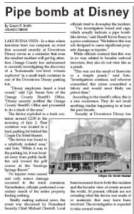 Orlando Tribune Disney Pipe Bomb - 2007 - Gavin P Smith
