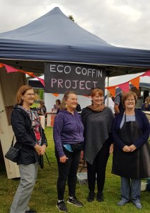 Launch of the Eco Coffin Project by Town of Gawler Mayor, Karen Redman with Project Facilitator, Abby Buckley and helpers, Betty Allan and Sandra Sullivan